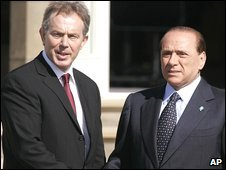 Tony Blair and Silvio Berlusconi in 2005