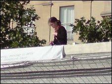 Rachel Lockwood on the plinth