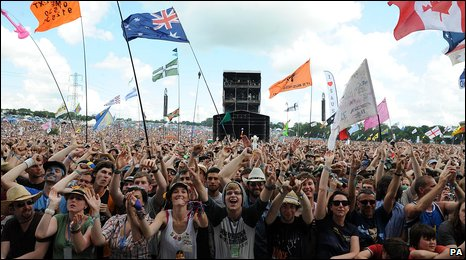 Huge crowd at the Glastonbury Festival