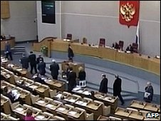 Russian deputies walk out of parliament
