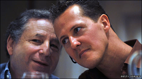 Jean Todt (left) and Michael Schumacher (right)