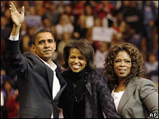 Barack Obama with wife Michelle and Oprah Winfrey during campaigning, Dec 2007