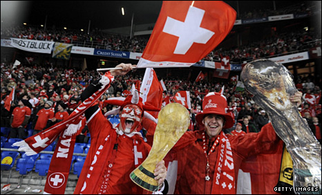 Switzerland fans celebrate qualifying for the 2010 World Cup finals