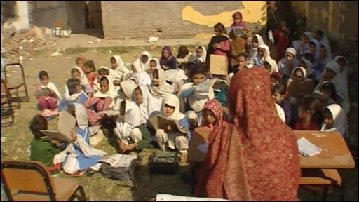 Pupils at a girls school in Pakistan's Swat valley