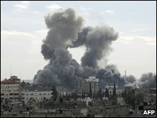 Smoke billows from the Gaza Strip following Israeli air strikes, as seen from the southern town of Rafah on December 27, 2008