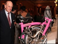 Prince Phillip with the Brompton bike