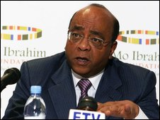 Mo Ibrahim speaking at a press conference