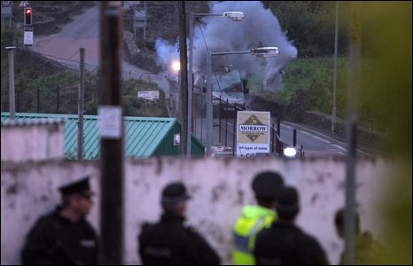 Scene of controlled explosion, Clady
