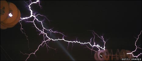 Electricity travels between two Tesla coils