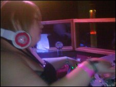 Abi at work, DJing in the clubs of Teesside