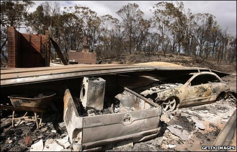 The wreckage of bush fires in Victoria, Australia, 2009