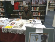 A ROC member at a stall in Brixton Library in March 2009