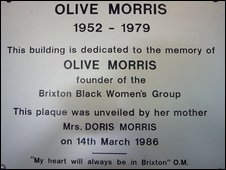 Plaque of dedication at Olive Morris House