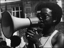 Olive Morris speaking at a rally against Police brutality in 1972