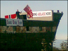 Peter Maddison protesting on the ship