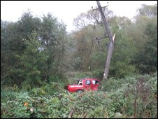 Pick-up truck which hit the pole