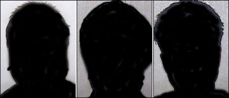 Silhoutted images of the defendants