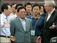File photo of North Korean delegate Ri Gun (centre) during six-party talks in 2007