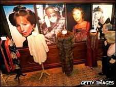 Barbra Streisand costumes are displayed ahead of auction in Los Angeles, 12 October 2009