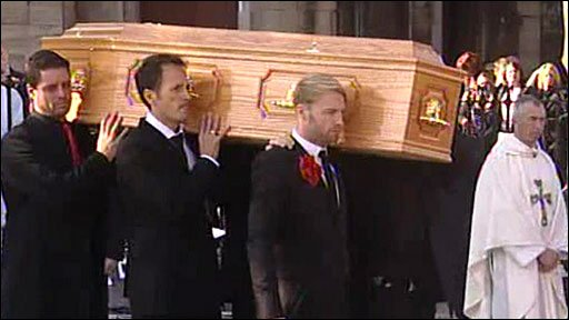 Stephen Gately's coffin is carried out of the church