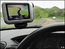 Sat-nav system in car