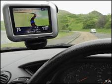 Sat-nav system in car