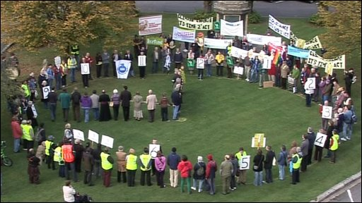 Climate change protesters in Gloucester