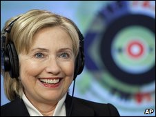 Hillary Clinton answers a question at Echo Moskvy radio station, 14 October 2009