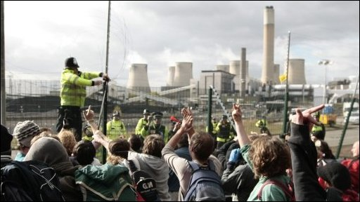 Protesters at power station