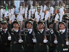 Iran's Revolutionary Guards on parade in September 2009
