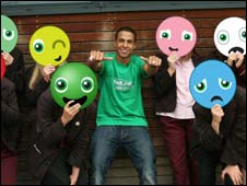 Marvin Humes of JLS launches the new service with pupils from Harefield Academy in Uxbridge.