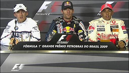 Robert Kubica, Mark Webber and Lewis Hamilton