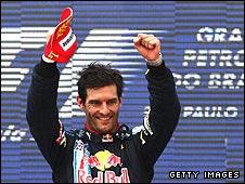 Mark Webber celebrates winning the Brazilian Grand Prix