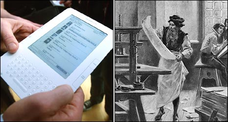 Kindle and illustration of Gutenberg's workshop
