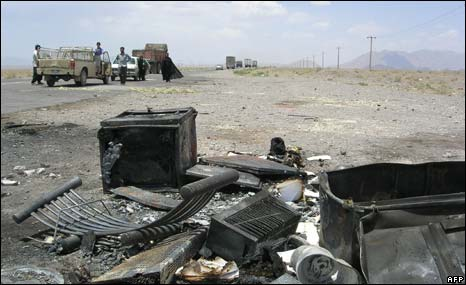 Remains of burnt cars after alleged Jundullah attack in 2006 on Ban-Kerman highway