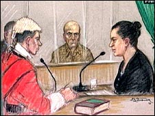 Artist impression of Hanim Goren giving evidence as Mehmet Goren watches