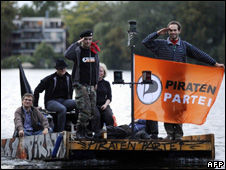 Members of the German Pirate Party on the campaign trail