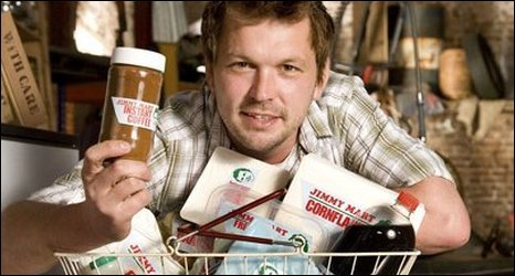 Jimmy Doherty with home-made 'supermarket' food