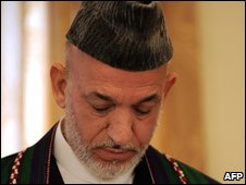 Hamid Karzai in Kabul on 17 September 2009