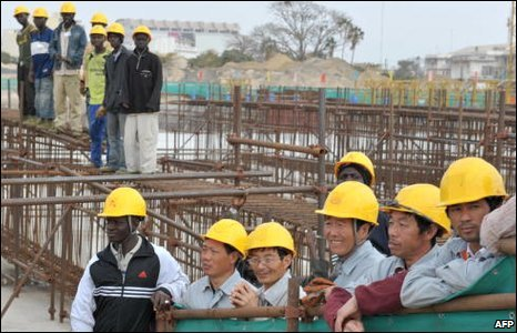 Chinese workers and African workers in Senegal, file image