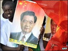 Crowds with China flags and posters in Dakar, file image
