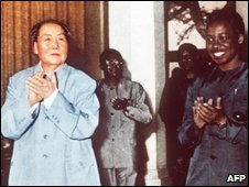 Mao Zedong (L) with Julius Nyerere in 1971