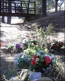 Flowers placed at the site of a mass grave at Barranco de Viznar, honouring those killed by Franco government soldiers during the Spanish Civil War