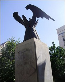 A monument to the Spanish fascist party founder, Jose Antonio Primo de Rivera, Granada