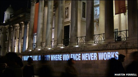 "Martin Firrell piece ""I want to live in a city where violence never works"""