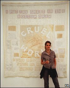 Artist Tracey Emin unveiling her work in 2000