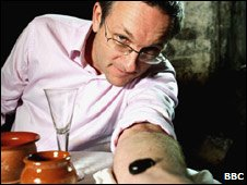 Blood and Guts History of Surgery presenter Michael Mosley being leeched, 2008