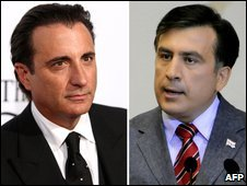 Composite image of Andy Garcia (left) and Mikheil Saakashvili