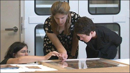 Preparing a piece for exhibition