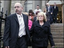 Lorraine McGovern's parents Kevin and Theresa leaving the inquest in Omagh